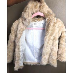 ZARA | Girls Size 7 Tan All Fur Coat Jacket
